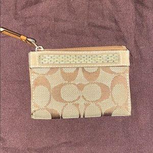 Coach signature mini skinny suede pouch